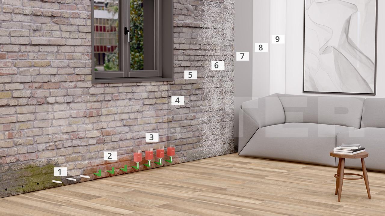 horizontalsperre gegen aufsteigende feuchtigkeit. Black Bedroom Furniture Sets. Home Design Ideas