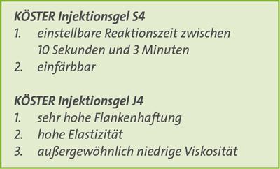 Vergleichstabelle Injektionsgele S4 und J4